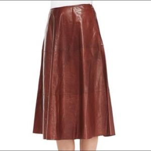 Lafayette 148 New York Glazed Lambskin Skirt